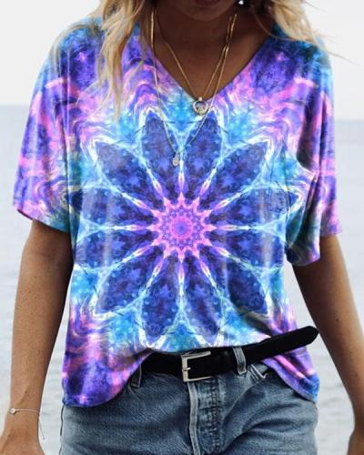 Women's Tie-Dye Floral Graphic Tees