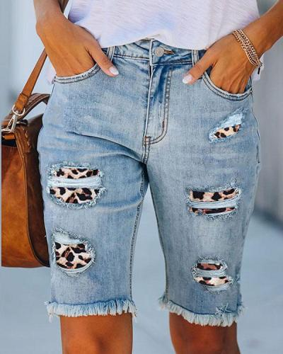 Thin High-waisted Straight Washed Denim Pants