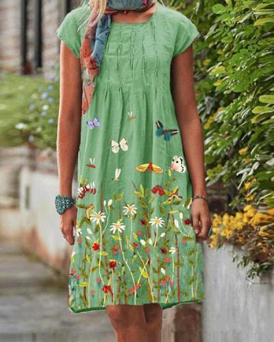 Vintage Casual Floral Printed Women Linen Dresses
