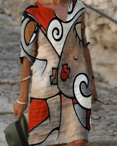 V-neck Abstract Face Print Loose Dress