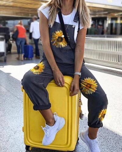 Fashion Daisy Print Mid-waist Linen Jumpsuit