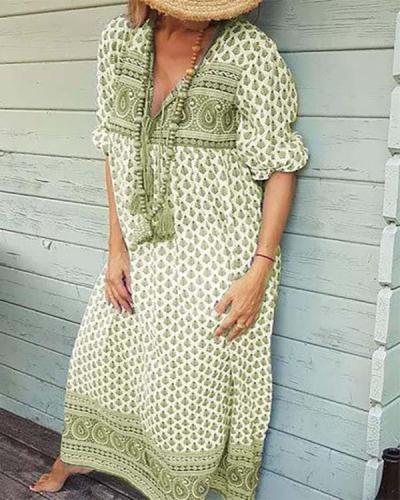 Floral V Neck Half Sleeve Cotton Summer Dress