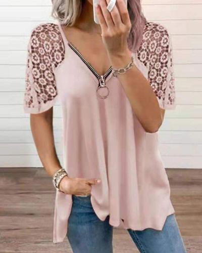 Women's Floral Lace Zipper V-neck T-shirt