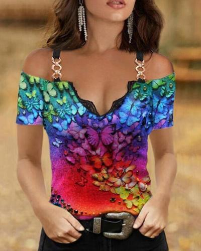 Women Sling V-collar Slim Tees Designer