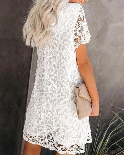 Women Cute Hollow Out Lace Crochet Mini Dress