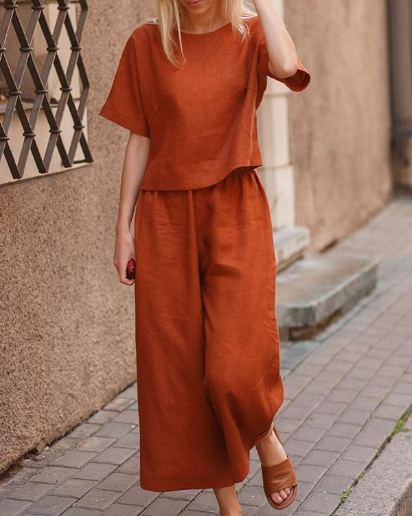 Casual Loose Solid Color Shirt Trousers Two-piece Suits