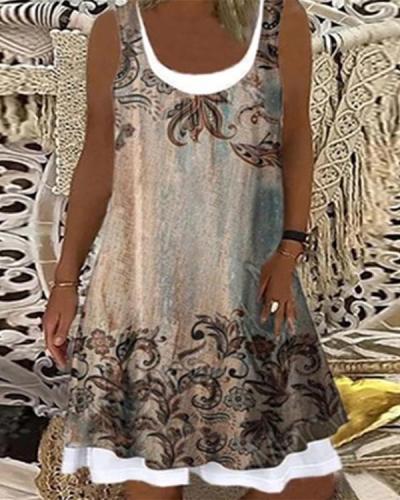Women's Vintage Casual Floral Print Dress