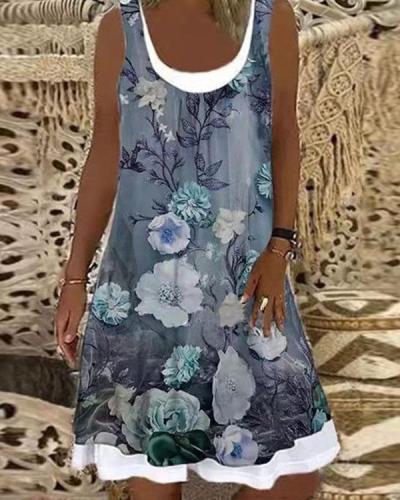 Vintage Flower Print U Neck Casual Midi Dress