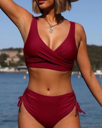 Ruffles Strap V-neck Elegant Bikinis Swimsuits