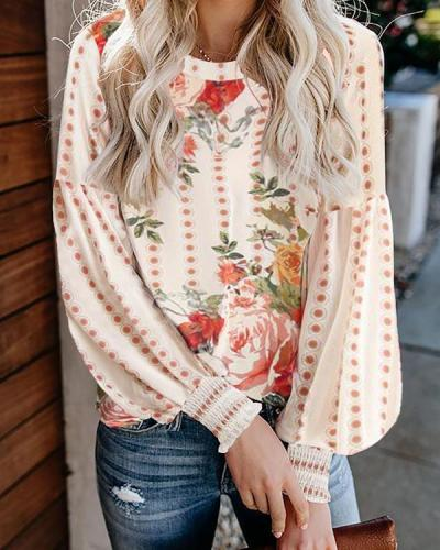 Floral Print Puff Long Sleeve Blouse