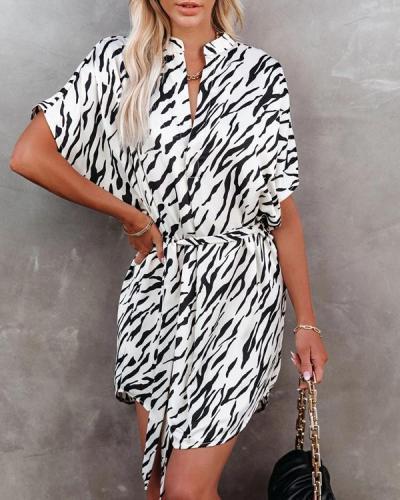 Zebra Belted Shirt Mini Dress