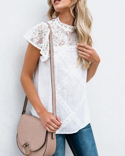 Solid Ruffle Sleeve Lace Crochet Cute Top Elegant Blouse
