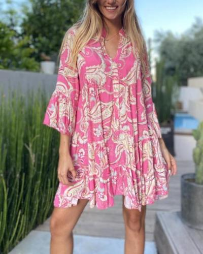 Boho Style Floral Vacation Mini Dress