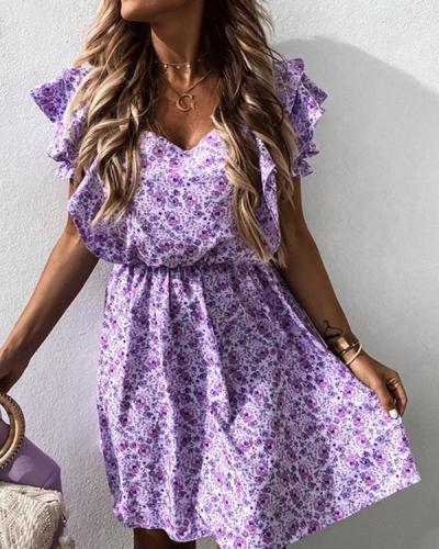 Elegant Lilac V Neck Ruffle Print Dress