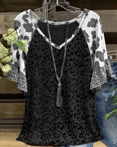 Casual Leopard-Print Leopard Short Sleeve Shirts & Tops