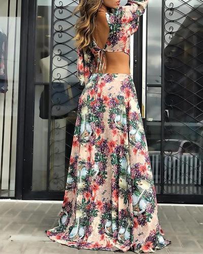 Backless Split-Side Long Sleeves Maxi Dresses