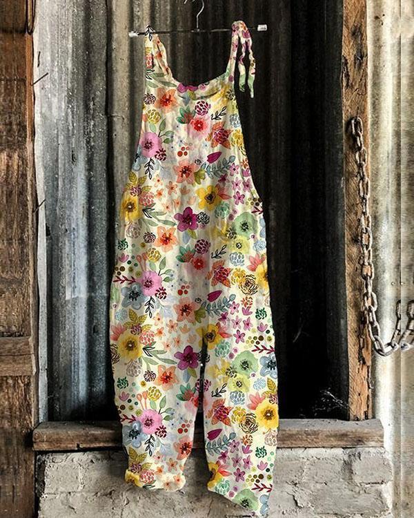 Colorful Multiflora Women Casual Linen Jumpsuits