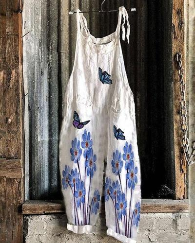 Casual Flower Butterfly Loose Fit Linen Jumpsuits