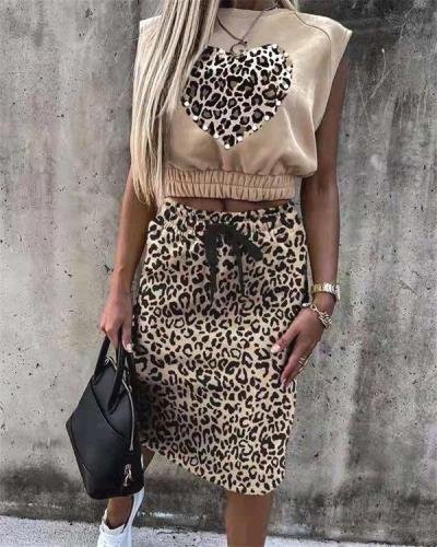 Leopard Print Sleeveless Top & Skirt Set