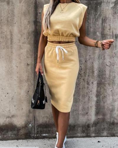 Plain Shirring Detail Top & Drawstring Skirt Set