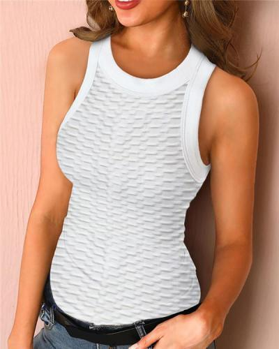 Solid Round Neck Ribbed Tank Top