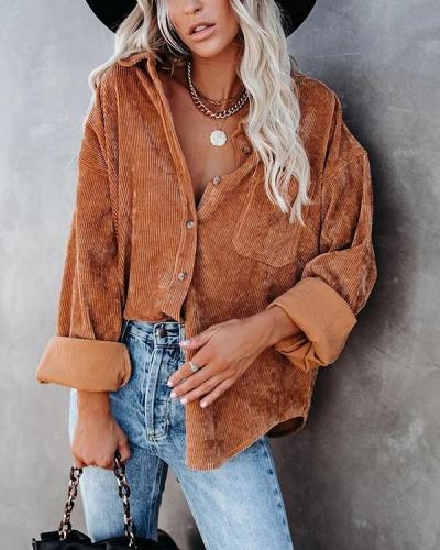 Women's Casual Solid Color Rib Blouse with Pocket