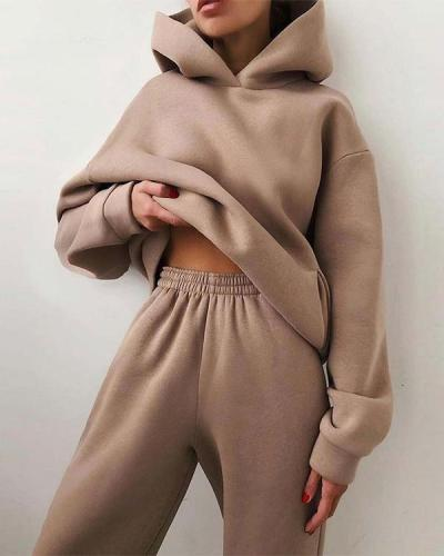 Fashion Casual Hooded Solid Color Two-Piece Suit