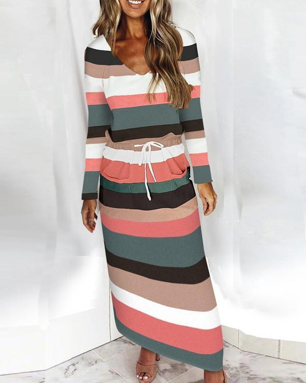 Casual Striped Contrast Long-sleeved Dress