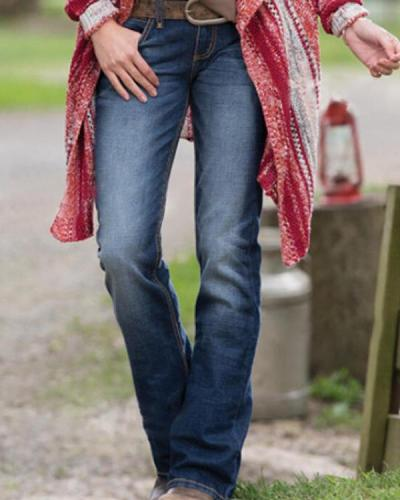 Low-rise Slim-fit Straight-leg Jeans With Pockets