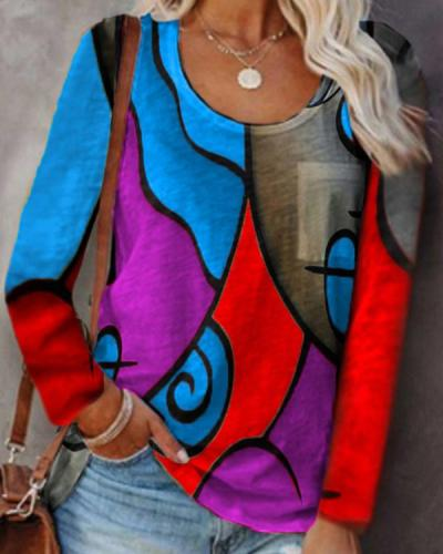Casual Long-sleeved Colorblock T-shirt