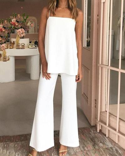 Casual Pure Color Spaghetti Strap Daily Suit Flare Pants Sets