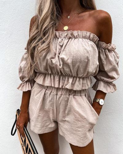 Casual One-shoulder Short-sleeved Two-piece Suit