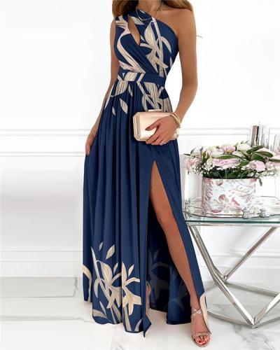 Floral Print High Slit Cutout Maxi Dress