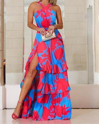 Women Print Ruffle Layer Halter Neck Sleeveless Split Dress