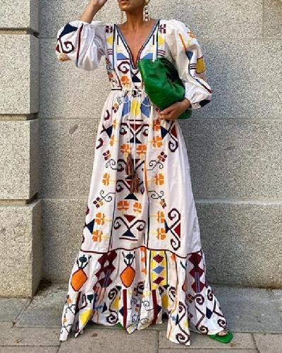 Women Vacation Vintage Print Dress Plunging Neck Lantern Sleeve Dress