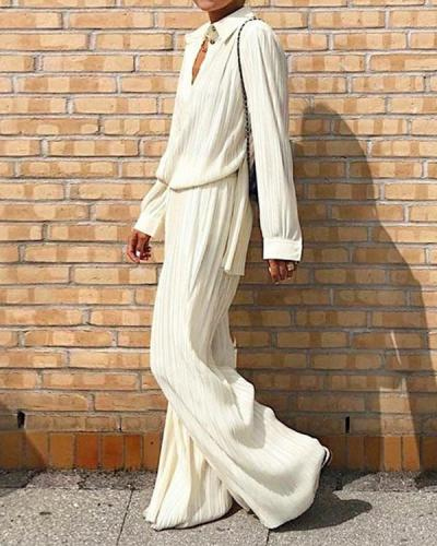 Pleated Shirt And Wide Leg Pants Set