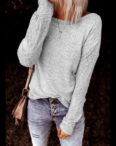 Casual Open Back Sweatshirt Long Sleeve Tops