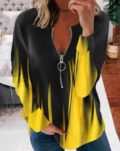 Autumn Fashion Ombre/Contrast Long-sleeved Zipper T-shirt Tops
