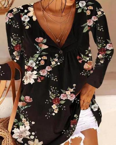 V-neck Long-sleeved Flower Print T-shirt