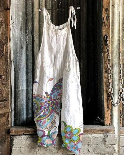 Women Fashion Butterfly Print Linen Jumpsuits