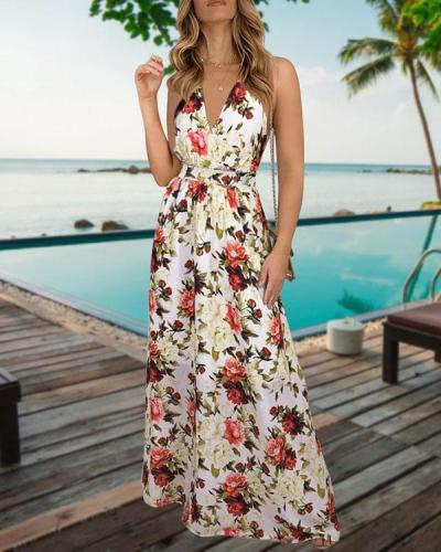 Spaghetti Strap Elegant Floral Highwaist Maxi Dresses