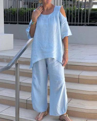Cotton and Linen Strapless Casual Plus Size Suit
