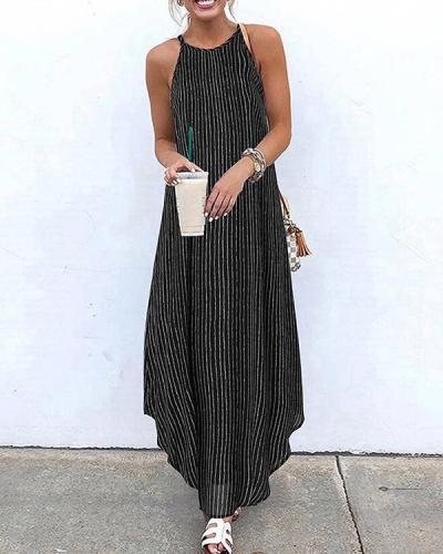 Striped Halter Holiday Maxi Dresses