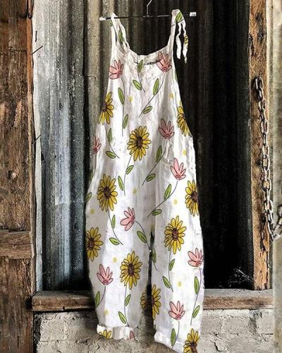 Cute Jumpsuit Overall Floral Loose Fit Linen Jumpsuits