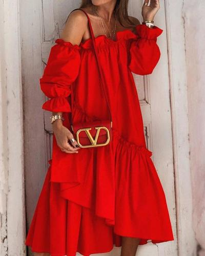 Solid Off Shoulder Irregular Ruffle Dress