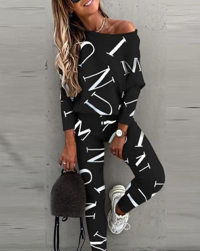 Fashion Letter All over Print Jogging Suits