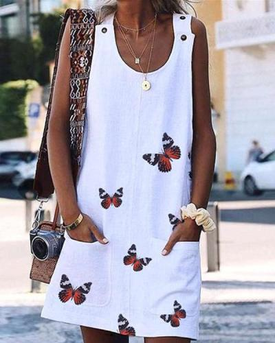 Butterfly Print Casual Pockets Tunic Shift Dress