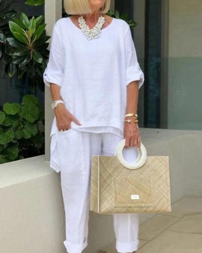 Plus Size Cotton Linen Sleeves Women's Suits