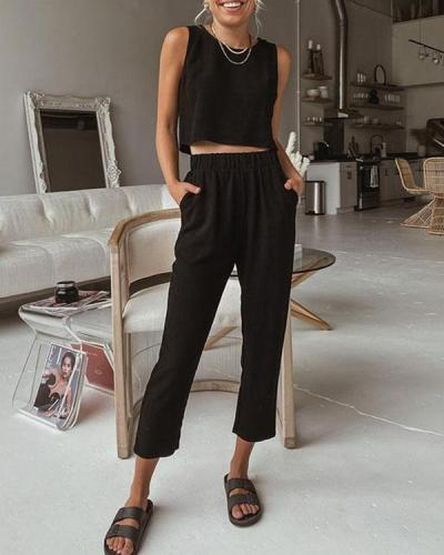 Round Neck Solid Two Pieces Cropped Vest&Pants Suits