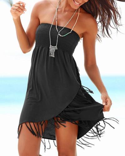 Sexy Irregular Tassel Bandeau Beach Dress